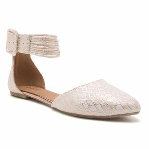Shoes - Gold and White Snakeskin Flat